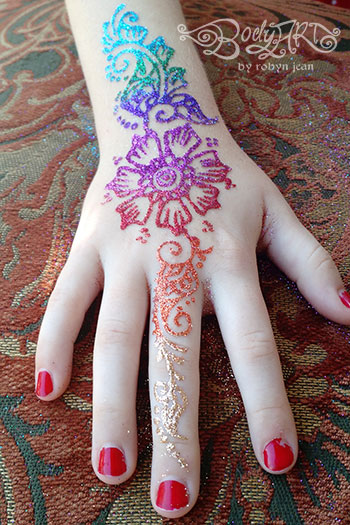 Bay area face painters glitter tattoos mehndi henna for Where to get glitter tattoos